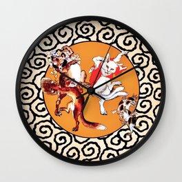 Kawanabe Kyosai Tanuki And Cat Wall Clock