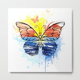 Butterfly with Painted Sea Metal Print