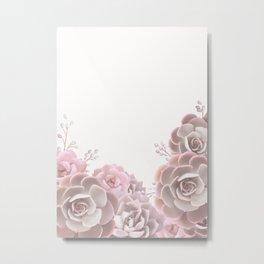 Succulents in blush pink Metal Print