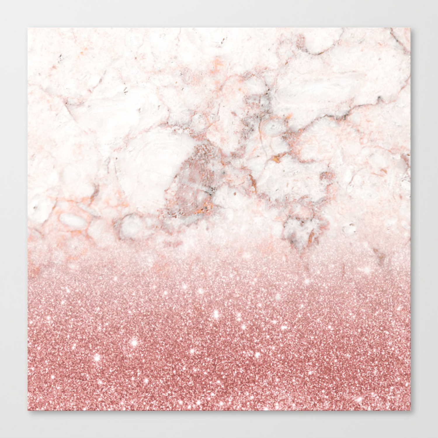 Elegant Faux Rose Gold Glitter White Marble Ombre Canvas Print By Staypositivedesign Society6