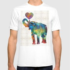 Colorful Elephant Art - Elovephant - By Sharon Cummings White MEDIUM Mens Fitted Tee