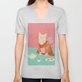 Cute Cat in a Kimono Drinking Matcha Tea and Eating Dango Unisex V-Neck