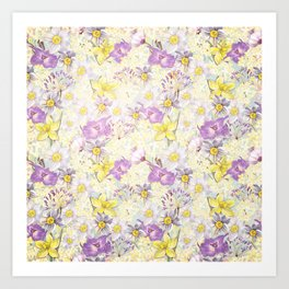 Vintage pattern- Spring in purple and yellow- daffodils and anemones Art Print