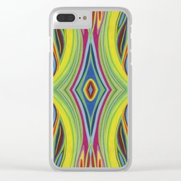 Retro Line Design of Many Colors Pastel on Suede by annmariescreations Clear iPhone Case
