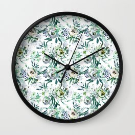 Country white green rustic watercolor floral Wall Clock