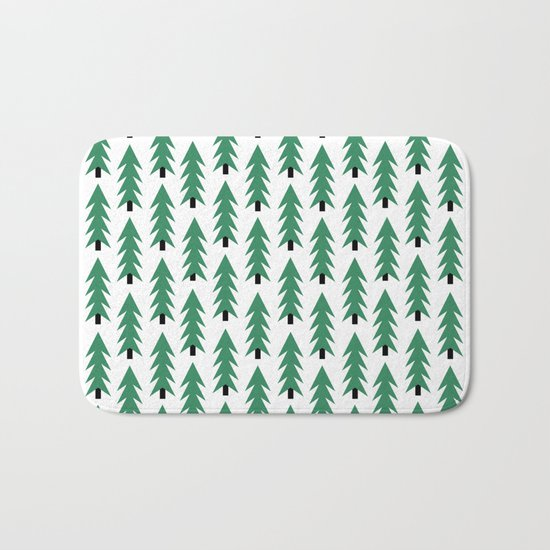 Christmas Tree forest holiday minimal decor festive winter trees green and white Bath Mat