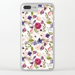 Violet pink yellow green watercolor modern floral pattern Clear iPhone Case