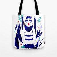 nemo Tote Bags featuring Captain Nemo by Fabiola Correas