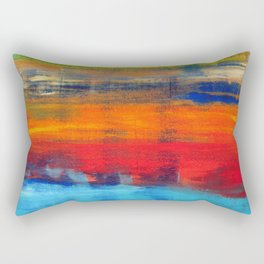 Horizon Blue Orange Red Abstract Art Rectangular Pillow