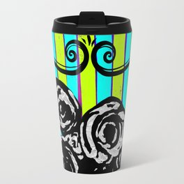 Parisienne Neons - Black & White Roses in Striped Vase Travel Mug