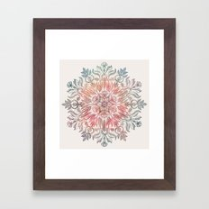 Autumn Spice Mandala in Coral, Cream and Rose Framed Art Print