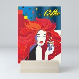 """Beautiful Fashion Woman and Coffee Cup"" POP-ART poster, Retro, Design Mini Art Print"
