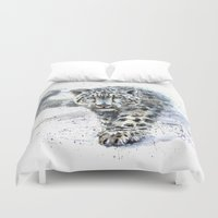 snow leopard Duvet Covers featuring snow leopard by KOSTART
