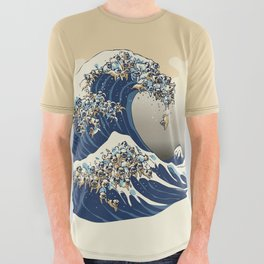 The Great Wave of Pugs Vanilla Sky All Over Graphic Tee
