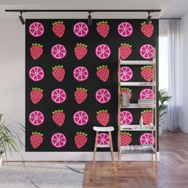 Tropical exotic juicy pink grapefruit citrus slices and ripe red strawberries summer fruity black whimsical cute pattern design. Wall Mural
