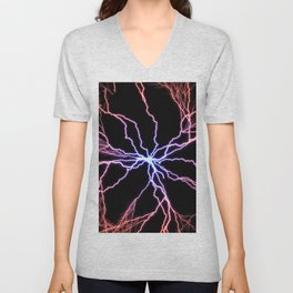 Electrical Lightning Discharge Blue to Red Unisex V-Neck
