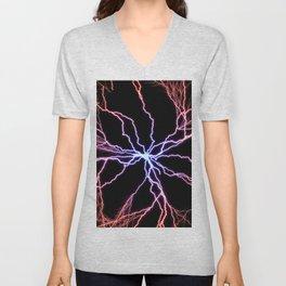 Electrical Lightning Discharge Blue to Red Unisex V-Neck