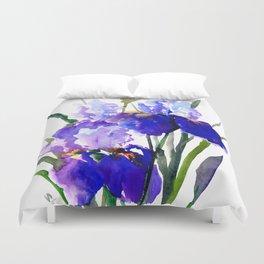 Garden Irises, Blue Purple Floral Design Duvet Cover