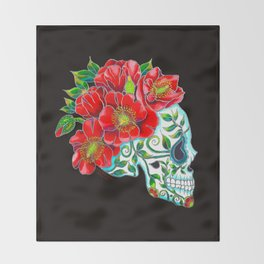 Sugar Skull with Red Poppies Throw Blanket