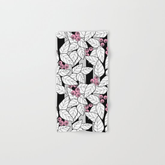 Pink berries on black and white striped background . Hand & Bath Towel