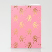 bisexual Stationery Cards featuring Golden Unicorns on rose quartz pattern by Better HOME