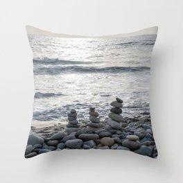 Zen stones at the beach at dusk Throw Pillow