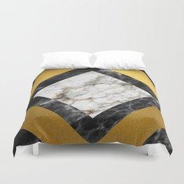 Gold foil white black marble #5 Duvet Cover
