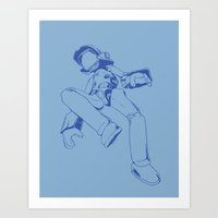 flcl Art Prints featuring FLCL - Canti (blue) by crimm-art