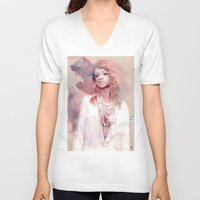 rihanna V-neck T-shirts featuring Rihanna by Kanelko