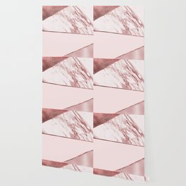 Spliced mixed pinks rose gold marble Wallpaper