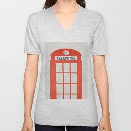 Red London Telephone Box Unisex V-Neck