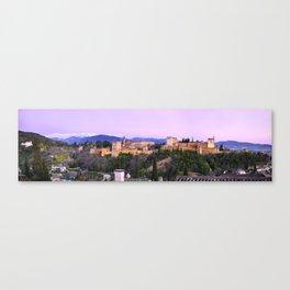 La Alhambra, Sierra Nevada and Granada. At pink sunset Canvas Print