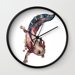 Cherry Blossom Axolotl Watercolor Artwork Wall Clock