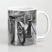 bicycles Mugs featuring Bicycles by Nick Nieu