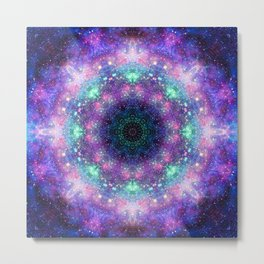 Trippy Purple Deep Space Mandala Metal Print