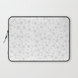 Block Print Silver-Gray and White Stars Pattern Laptop Sleeve