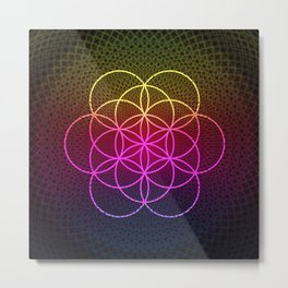 Sacred Rainbow Flower of Life Metal Print