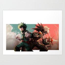 Hero Academia Midoriya Bakugo Art Print