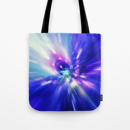 Interstellar, time travel and hyper jump in space. Flying through wormhole tunnel or abstract energy Tote Bag