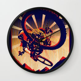retro mountain bike poster: kick some gravity ass Wall Clock