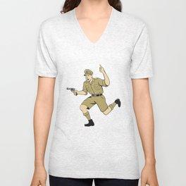 World War One British Officer Running Pistol Cartoon Unisex V-Neck