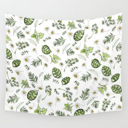 Scattered Garden Herbs Wall Tapestry
