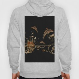 Funny dolphins with flowers Hoody