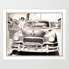 Mom and her Antique Car  Art Print