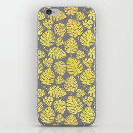 Leaves in Yellow and Grey Pattern iPhone Skin