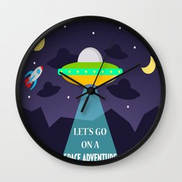 Let's Go On a Space Adventure! Wall Clock