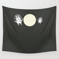 bunnies Wall Tapestries featuring Astro Bunnies by Lalaine Lim