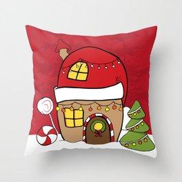 Hand Drawn Christmas fairy gingerbread winter wonderland Throw Pillow