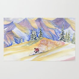 Powder Skiing Art Rug