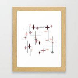 Mid Century Modern Stars (Pink) Framed Art Print